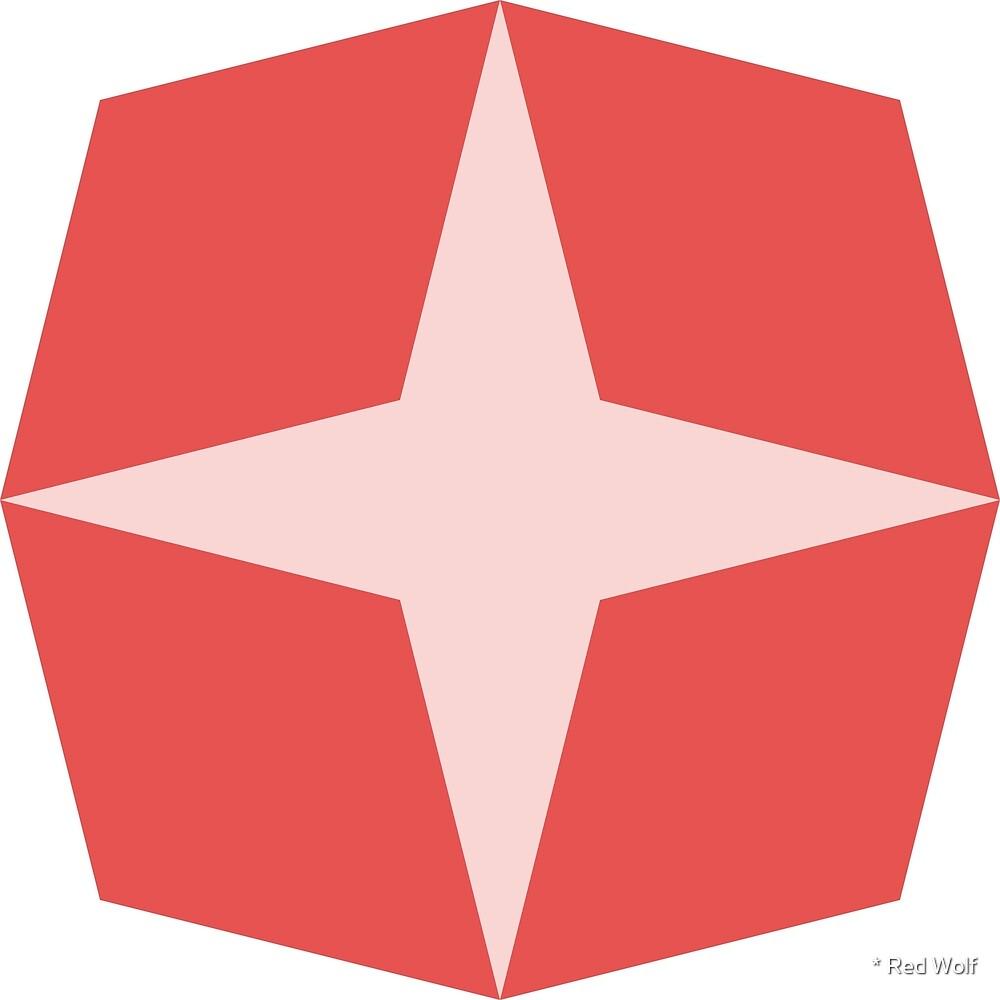 Geometric Pattern: Diamond Star: Light Red by * Red Wolf