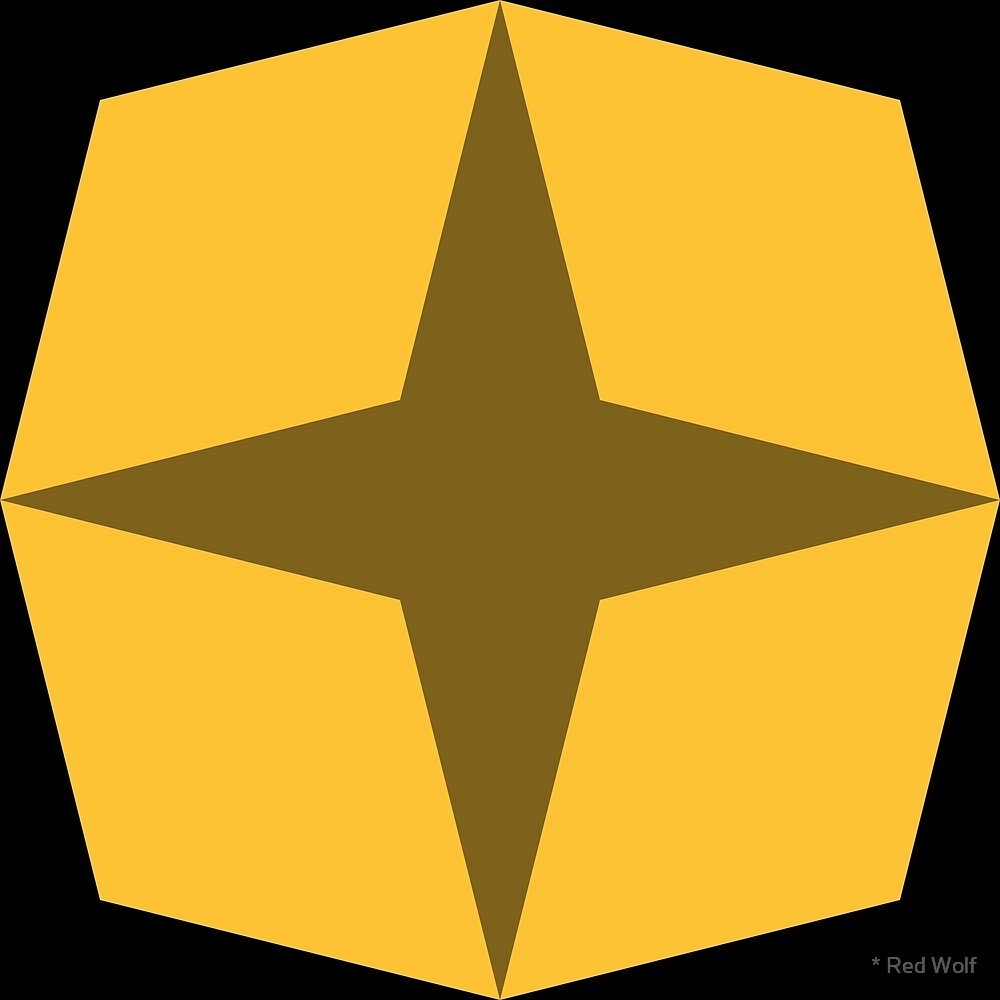 Geometric Pattern: Diamond Star: Dark Yellow by * Red Wolf