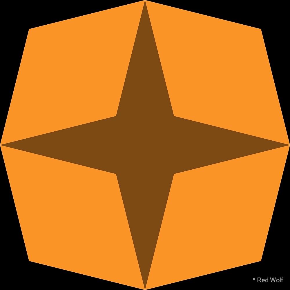 Geometric Pattern: Diamond Star: Dark Orange by * Red Wolf