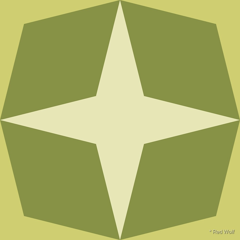 Geometric Pattern: Diamond Star: Olive by * Red Wolf