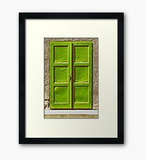 Green Door On Concrete Wall Framed Print