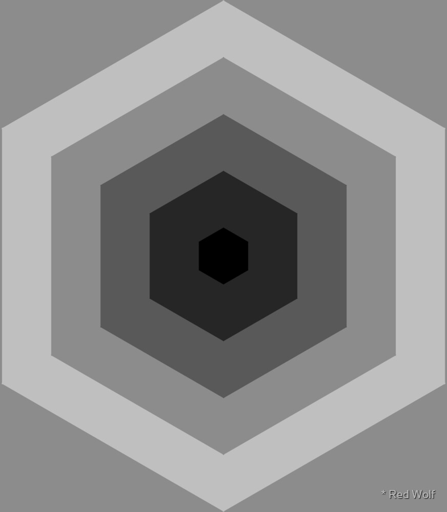 Geometric Pattern: Hexagon Hive: Grey by * Red Wolf