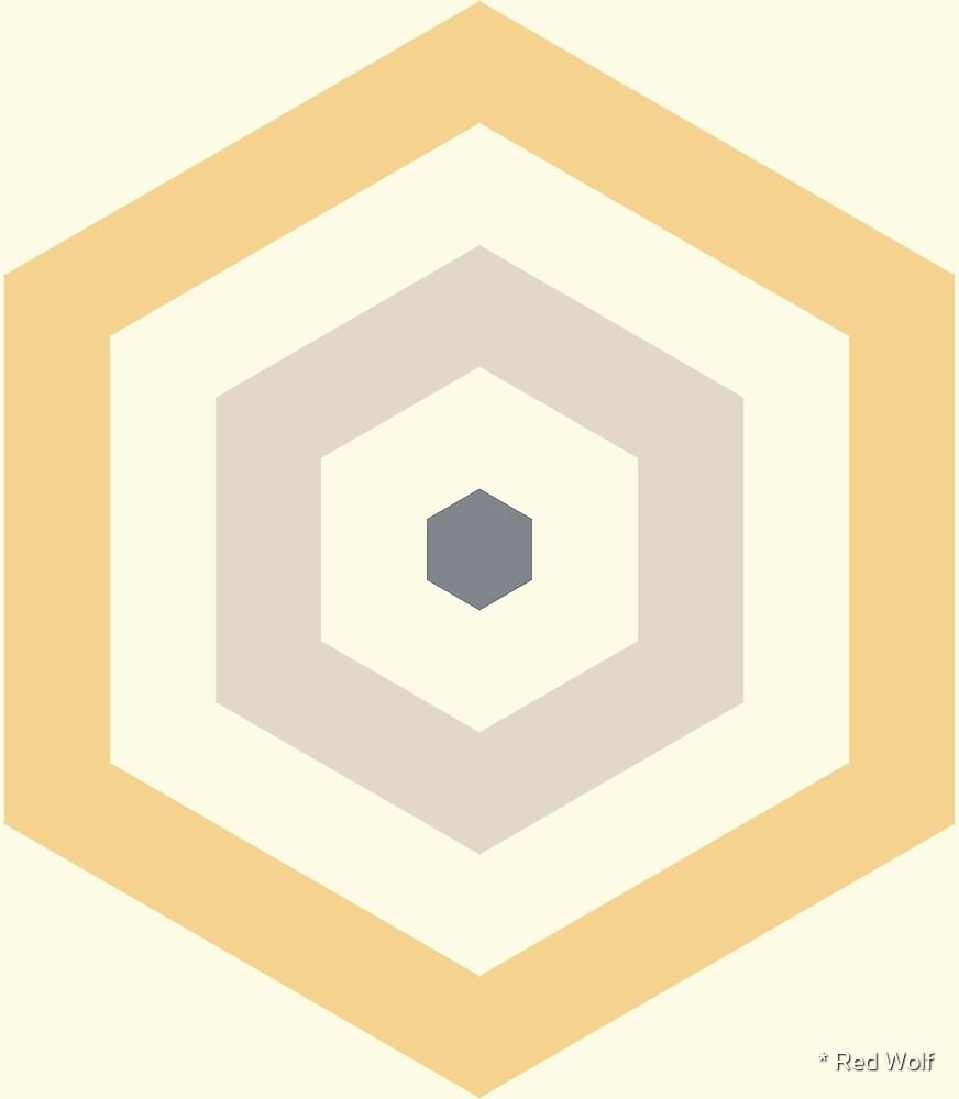 Geometric Pattern: Hexagon Hive: Manuka by * Red Wolf