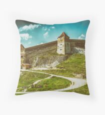 Rasnov Medieval Citadel In Romania Built Between 1211 and 1225 Throw Pillow