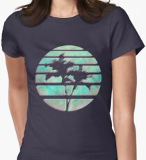 Vaporwave Palm Trees in the Sun - Blue Women's Fitted T-Shirt