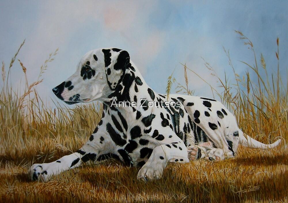 A Pleasant Spot (beautiful black spotted Dalmatian) by Anne Zoutsos