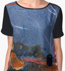 Blue and Orange Collage Women's Chiffon Top