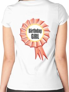 Birthday GIRL, Happy Birthday, Red Rosette, on WHITE Women's Fitted Scoop T-Shirt