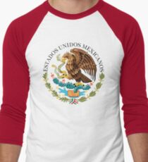 Close up of seal in the national flag of Mexico Men's Baseball ¾ T-Shirt