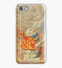 White Rabbit with Trumpet,Alice in Wonderland,Vintage Dictionary Book Page Art iPhone Case/Skin