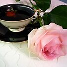 Beauty in Pink - Rose and tea cup by bubblehex08