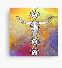 Sugar Skull Color Splash Series Don't Mess with the Bull Canvas Print