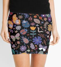 Butterflies, beetles & blooms - black Mini Skirt