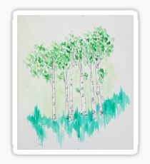 Birch trees watercolor Sticker