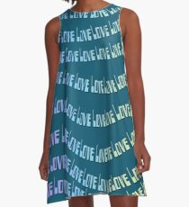 Colorful Rainbow Love Typography  A-Line Dress