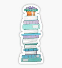 Book Stack with Violets Sticker