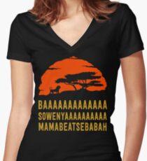 BAAAAAAAAAAAAA SOWENYAAAAAAAAAA MAMABEATSEBABAH African Lion T Shirt Women's Fitted V-Neck T-Shirt