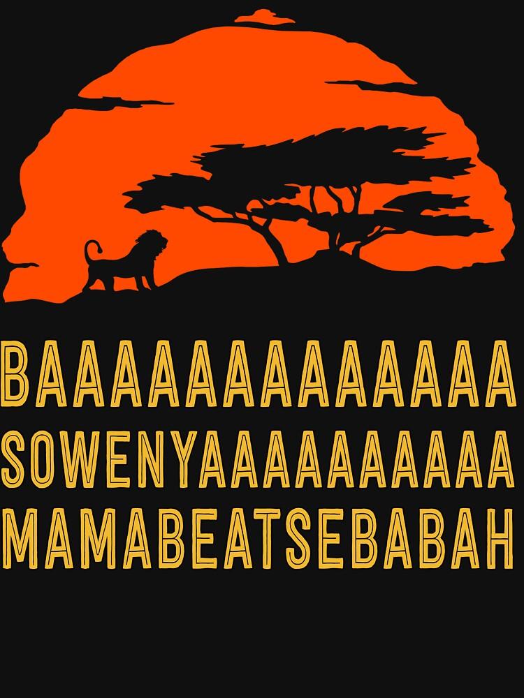 BAAAAAAAAAAAAA SOWENYAAAAAAAAAA MAMABEATSEBABAH Afrikanisches Löwe-T-Shirt von bitsnbobs
