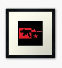 Red computer gamer digital machine gun Framed Print