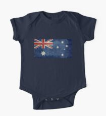 The National flag of Australia, retro textured version (authentic scale 1:2) One Piece - Short Sleeve