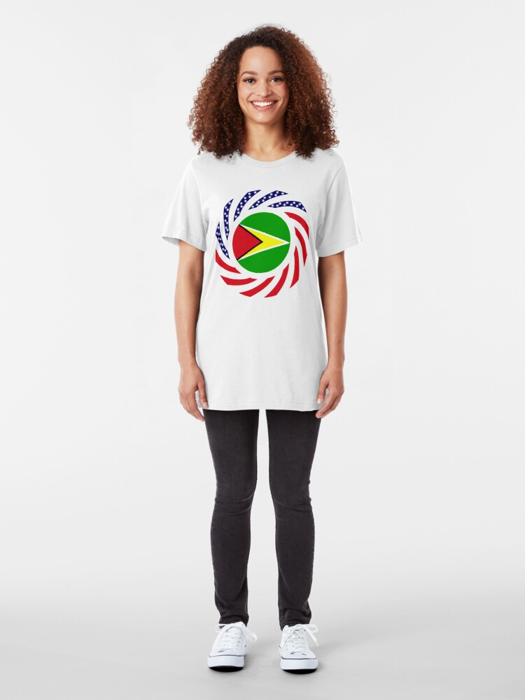 Alternate view of Guyanese American Multinational Patriot Flag  Slim Fit T-Shirt