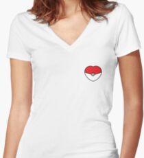 POKEBOLA HEART POKEMON GO Women's Fitted V-Neck T-Shirt