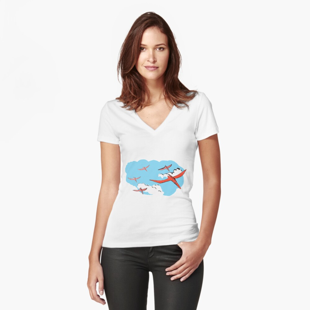 Pterodactyl Flying Squadron Fitted V-Neck T-Shirt