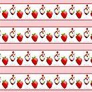 Strawberry Ice Cream Sundae Vanilla Chocolate Pink Stripes by Beverly Claire Kaiya