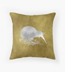 Grunge Kiwi Bird Throw Pillow