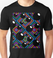 Black shiny balls and colored diamonds. Unisex T-Shirt