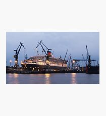 Queen Mary 2 at Hamburg Docks  Photographic Print