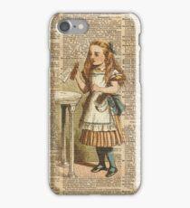 "Alice in The Wonderland ""Drink Me"" Colour Vintage Illustration Dictionary Art  iPhone Case/Skin"