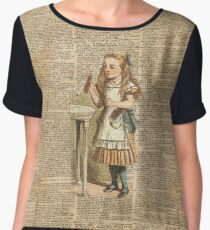 """Alice in The Wonderland """"Drink Me"""" Colour Vintage Illustration Dictionary Art  Women's Chiffon Top"""