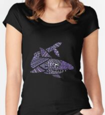 Cool Artistic Blue Shark Patterns Abstract Women's Fitted Scoop T-Shirt