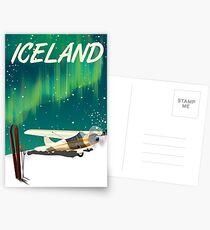Island-Weinleseart-Skiflugzeugplakat Postkarten