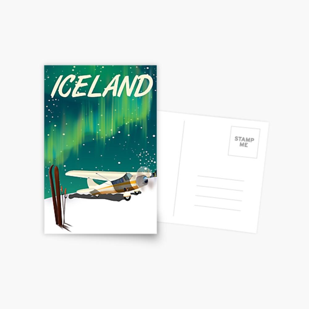 Island-Weinleseart-Skiflugzeugplakat Postkarte