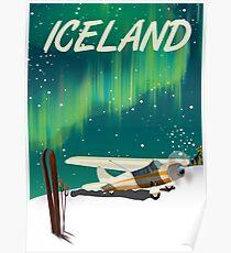 Iceland vintage style ski plane poster Poster