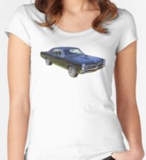 Black 1967 Pontiac GTO Muscle Car Women's Fitted Scoop T-Shirt