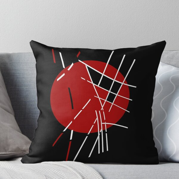 Red, black and white design  Throw Pillow