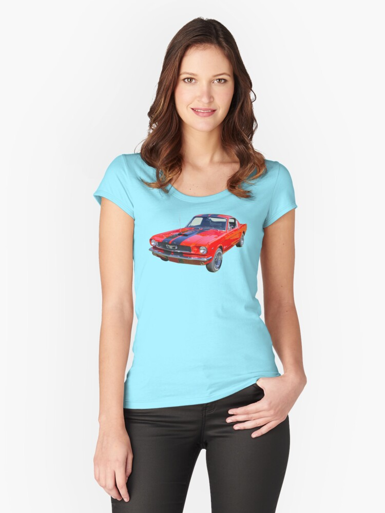Red 1966 Ford Mustang Fastback Women's Fitted Scoop T-Shirt Front