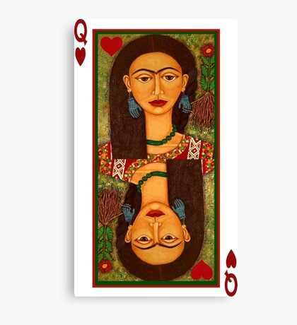 Frida Kahlo, queen of hearts  Canvas Print