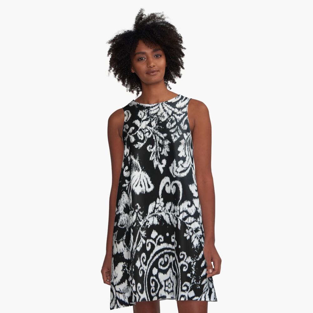 Classic Damask Design in Black and White A-Line Dress Front