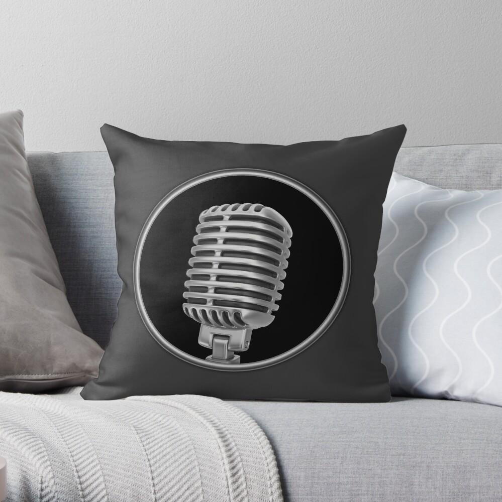 Altes Vintage Mikrofon Dekokissen