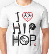 I Love Hip Hop - Music DJ Design - Dark Text Unisex T-Shirt