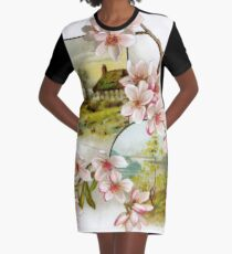 Victorian Pink Floral Graphic T-Shirt Dress