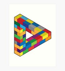 Play with Me: Lego Penrose Toy Triangle Impossible Object Illusion Art Print