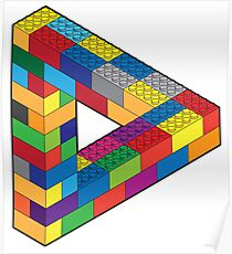 Play with Me: Lego Penrose Toy Triangle Impossible Object Illusion Poster