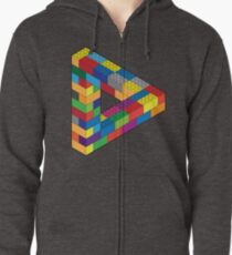 Play with Me: Lego Penrose Toy Triangle Impossible Object Illusion Zipped Hoodie