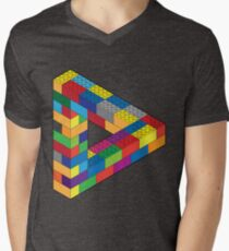 Play with Me: Lego Penrose Toy Triangle Impossible Object Illusion Men's V-Neck T-Shirt