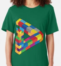 Play with Me: Lego Penrose Toy Triangle Impossible Object Illusion Slim Fit T-Shirt